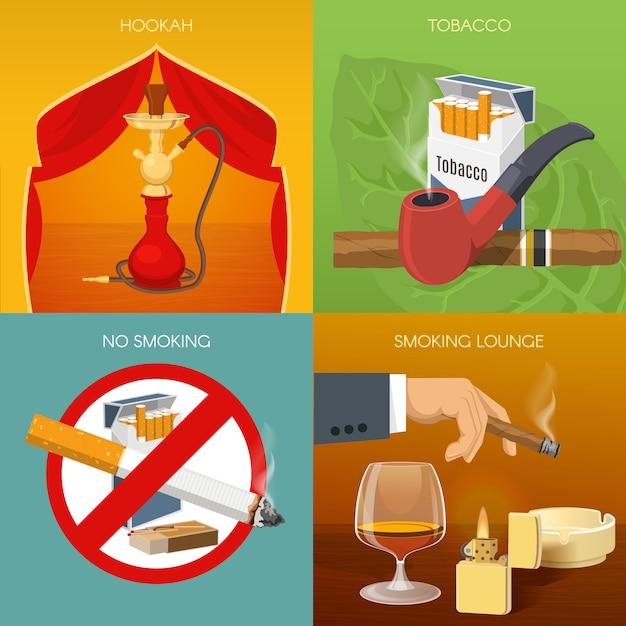 Roken van tabakssamenstellingen Gratis Vector