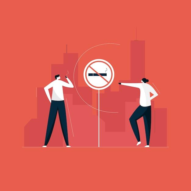Roken verboden teken, niet-rokerszone en sociaal probleemconcept Premium Vector