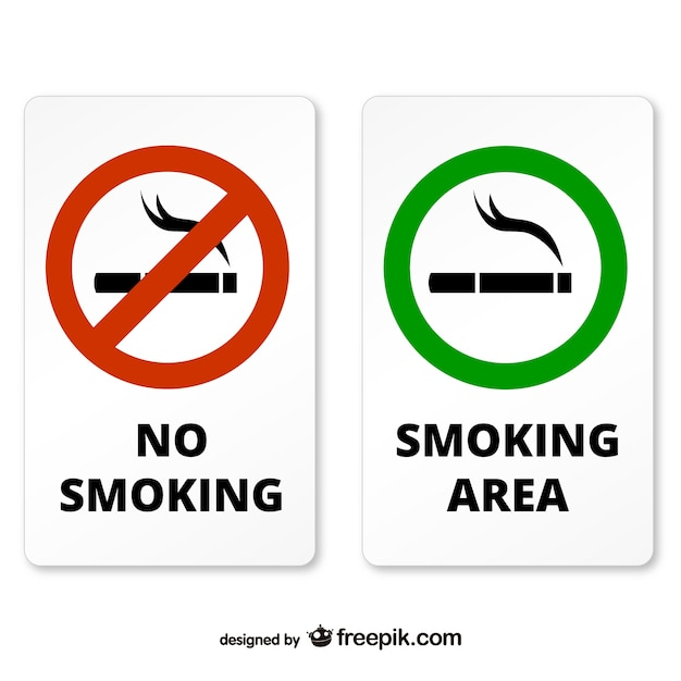 Rokers en niet-rokers zone borden Gratis Vector