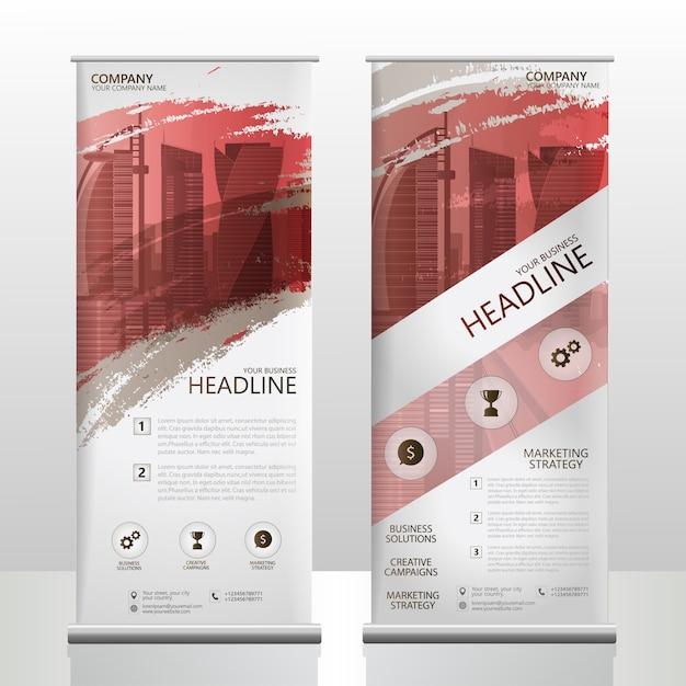 Rol van banner staan brochure folder sjabloonontwerp met borstel splash Premium Vector
