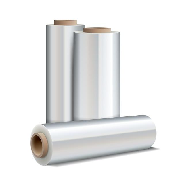Rol van het verpakken van plastic rekfolie geïsoleerd op wit Premium Vector