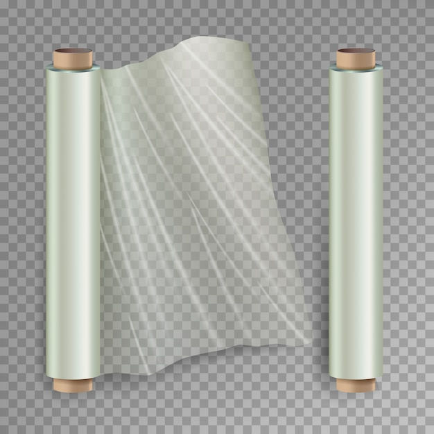 Roll of wrapping stretchfilm Premium Vector