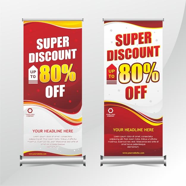 Roll-up banner korting ontwerp Premium Vector