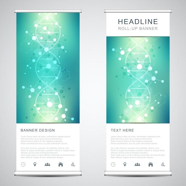 Roll-up banner staat met dna-streng en moleculaire structuur. Premium Vector