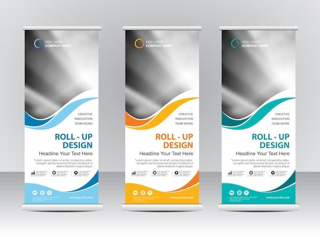 Roll-up banner stand sjabloonontwerp Premium Vector