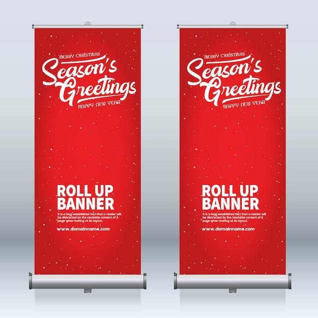 Roll-up banner, trek banner, x-banner, moderne verticale nieuwe vector ontwerpsjabloon Premium Vector