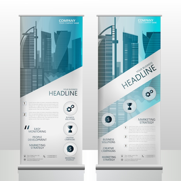 Rollup banner oceaan blauwe zakelijke brochure sjabloon Premium Vector