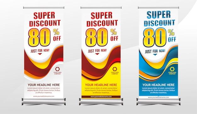 Rollup of staande x-banner sjabloon super speciale aanbieding verkoop kortingsset Premium Vector