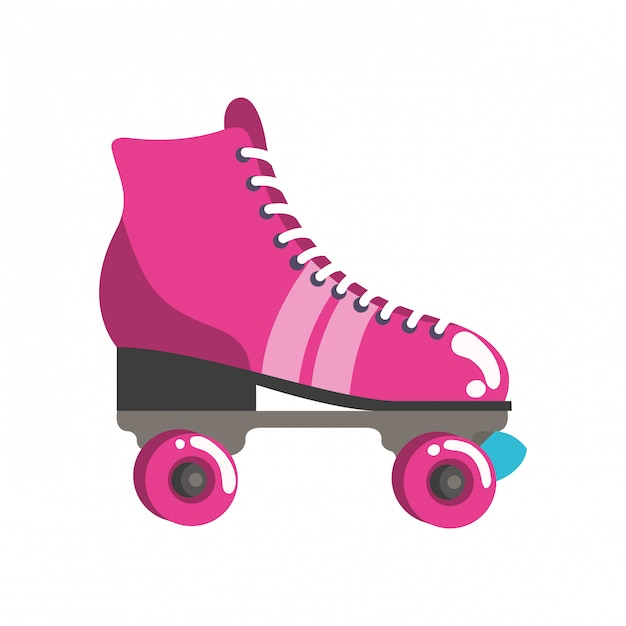 Rolschaatsen pop-art pictogram Premium Vector