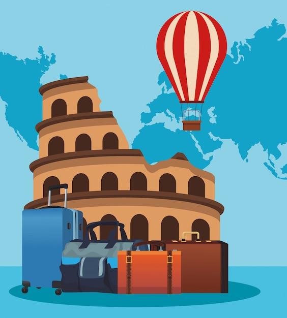 Roma coliseum met luchtballon en reiskoffers Premium Vector
