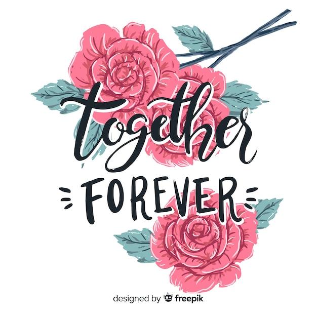 Romantisch bericht met bloemen Gratis Vector