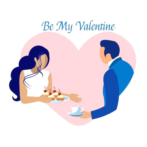 Romantisch daten op valentijnsdag uitnodigingskaart Premium Vector