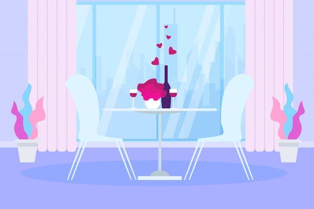 Romantisch diner restauranttafel wijnfles glas Premium Vector