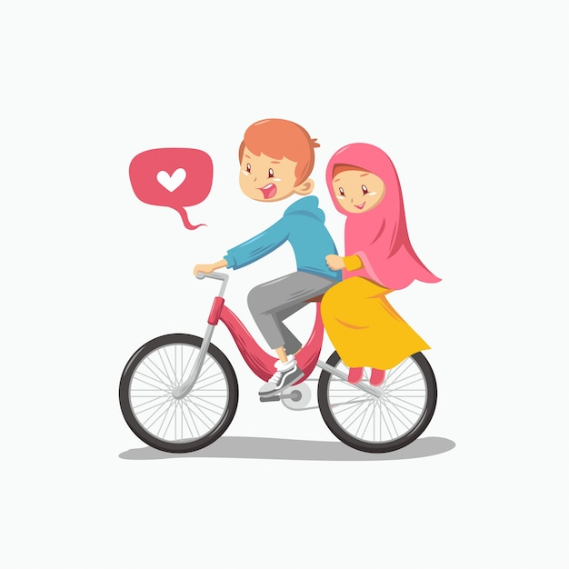 Romantisch moslimpaar Premium Vector