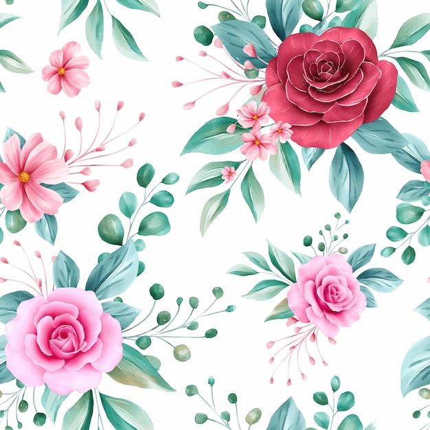 Romantisch naadloos patroon van rood en perzik aquarel bloemen regelingen Premium Vector