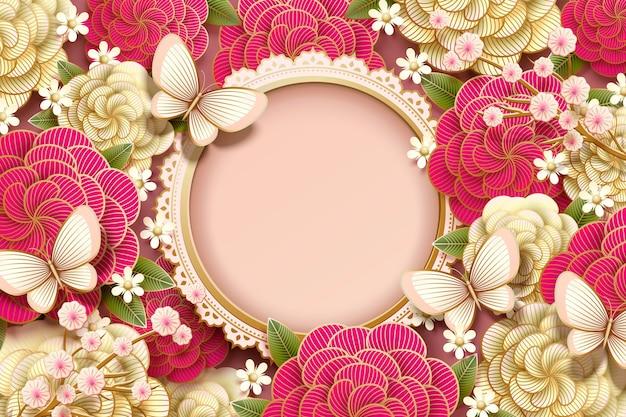 Romantisch ontwerp als achtergrond met prachtige pioenroos en vlinders in papieren kunststijl Premium Vector
