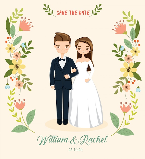 Romantisch paar voor de kaart van huwelijksuitnodigingen Premium Vector