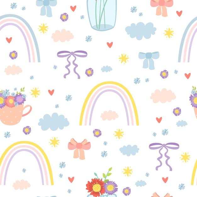 Romantisch regenboog naadloos patroon Gratis Vector