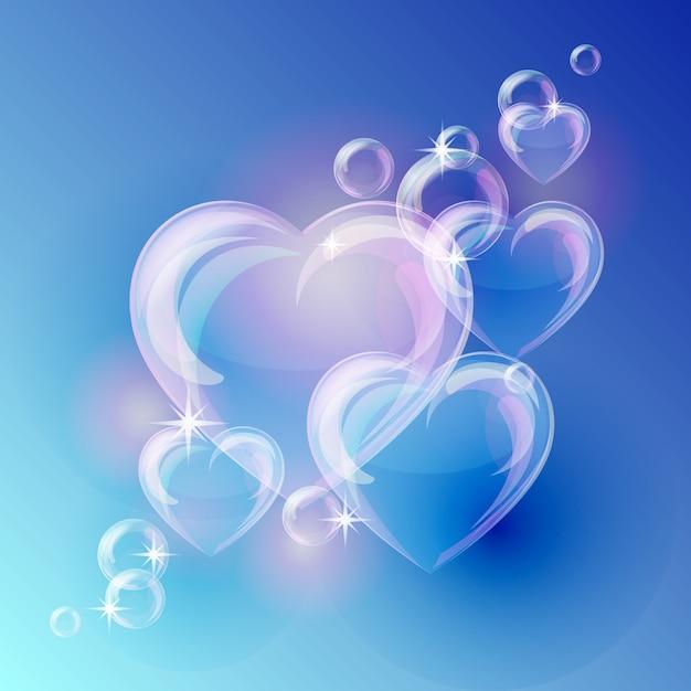 Romantische achtergrond met bubble harten vormen op blauwe achtergrond. Premium Vector