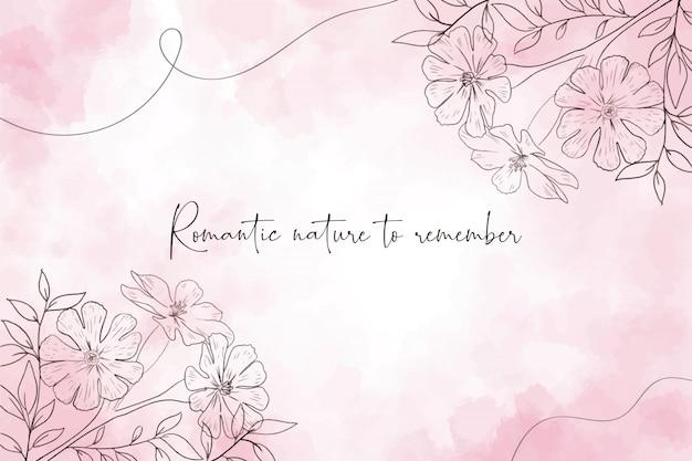 Romantische aquarel achtergrond met bloemen Gratis Vector