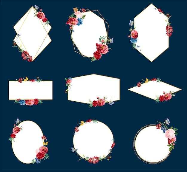 Romantische bloemen badge ontwerp illustraties Gratis Vector