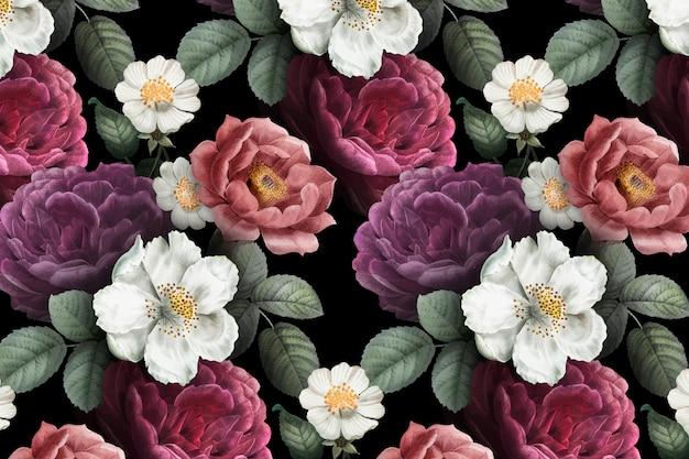 Romantische bloemenachtergrond Gratis Vector
