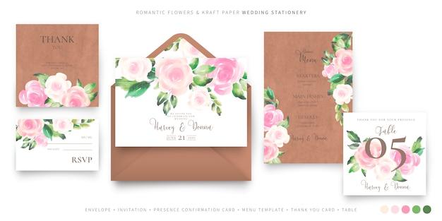 Romantische bruiloft briefpapier sjabloon Gratis Vector