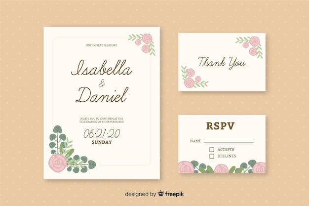 Romantische bruiloft kaart uitnodigingen sjabloon Gratis Vector