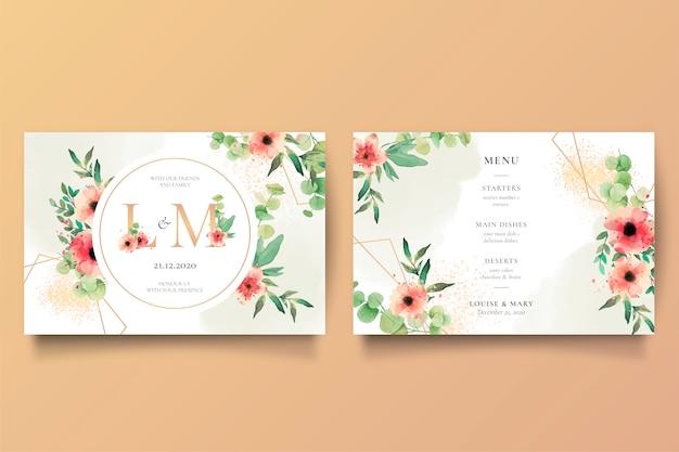 Romantische bruiloft uitnodiging en menusjabloon Gratis Vector