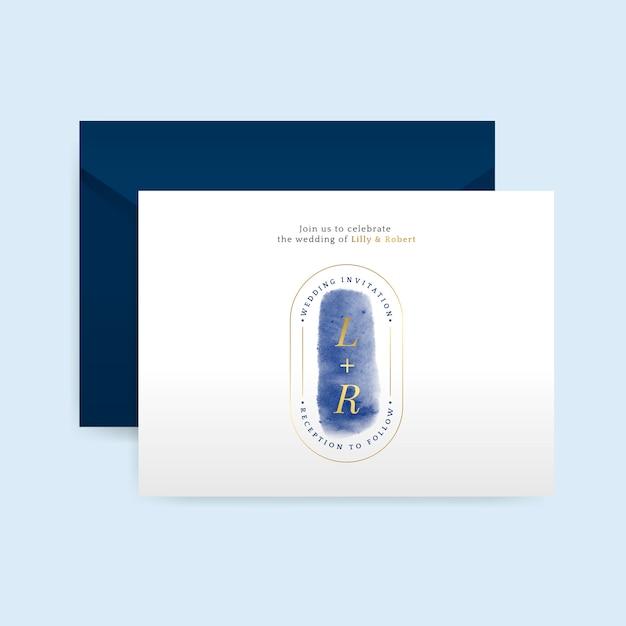 Romantische bruiloft uitnodiging met envelop vector Gratis Vector