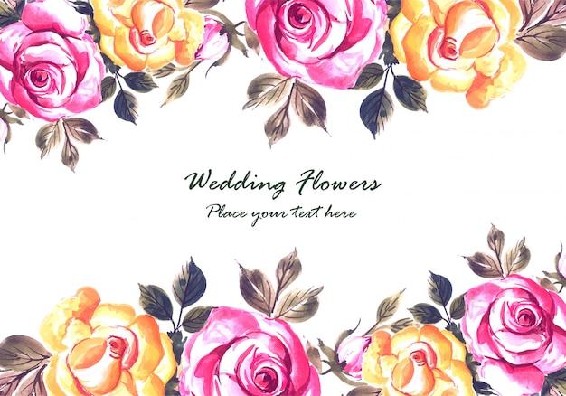 Romantische bruiloft uitnodiging met kleurrijke bloemen kaartsjabloon Gratis Vector