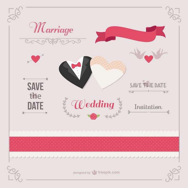 Romantische bruiloft uitnodiging sjabloon vector gratis