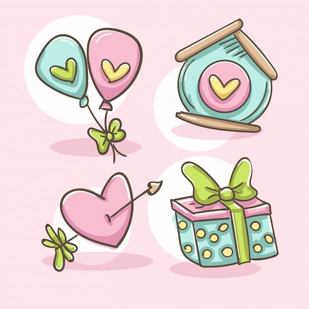 Romantische elementen instellen. hart met pijl, ballonnen, vogelhuisje en doos cadeau. Gratis Vector
