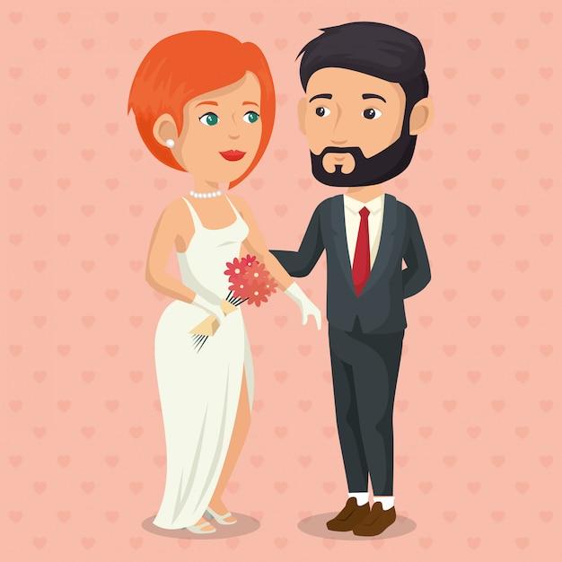 Romantische foto van net getrouwd stel Gratis Vector