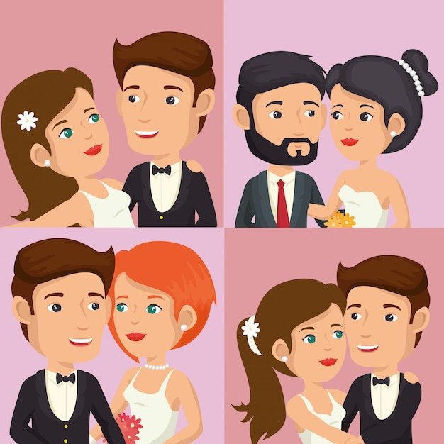 Romantische foto van net getrouwde set personages poseren Gratis Vector