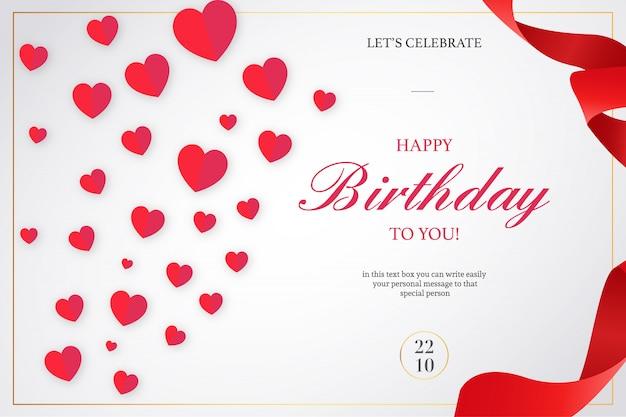 Romantische gelukkige verjaardag uitnodiging met rode linten Gratis Vector