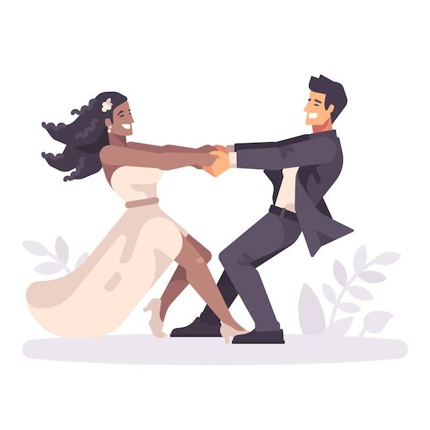 Romantische jong stel hand in hand en ronddraaien Premium Vector