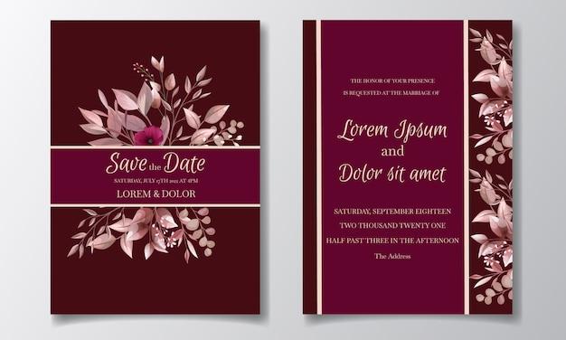 Romantische kastanjebruine bruiloft uitnodiging kaartsjabloon ingesteld met roze kosmos bloemen en bladeren Premium Vector
