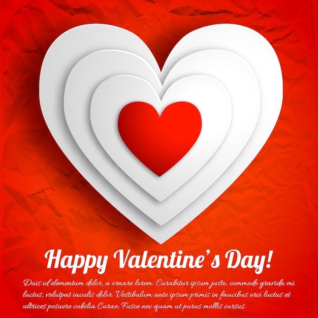 Romantische mooie wenskaart met witte hartjes op rode verfrommeld papier geïsoleerde vectorillustratie Premium Vector