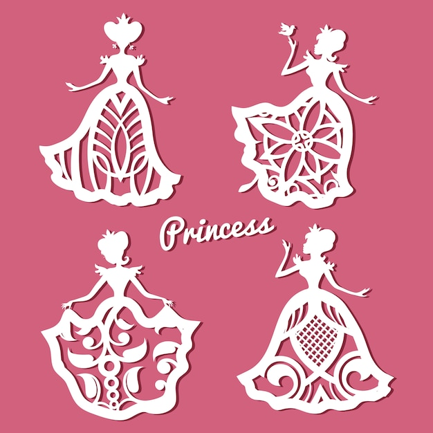 Romantische prinses in kanten trouwjurken met gesneden patroon Premium Vector