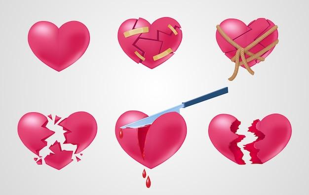 Romantische rode elementen die met gebroken geplakt verbrijzelde uitgesneden gescheurde en roping harten geïsoleerde vectorillustratie worden geplaatst Gratis Vector