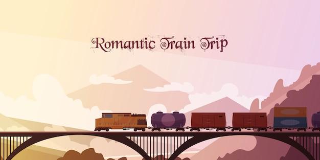 Romantische treinreis achtergrond Gratis Vector