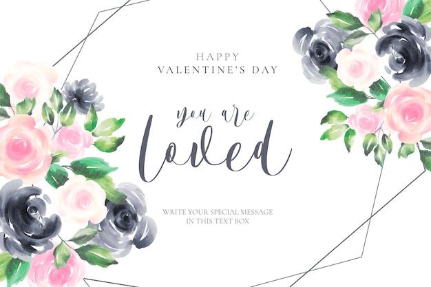 Romantische valentijnsdag achtergrond met aquarel bloemen Gratis Vector