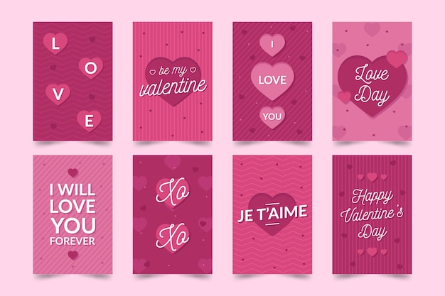 Romantische valentijnsdag kaarten Gratis Vector