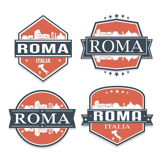 Rome italië set van reizen en zakelijke stempelontwerpen Premium Vector