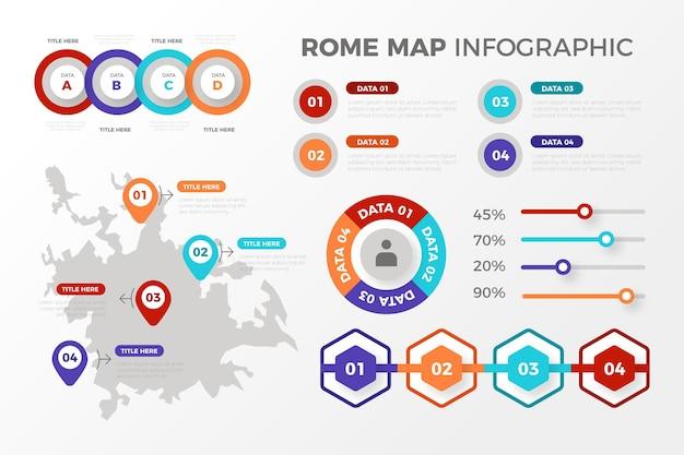 Rome kaart infographics in plat ontwerp Gratis Vector
