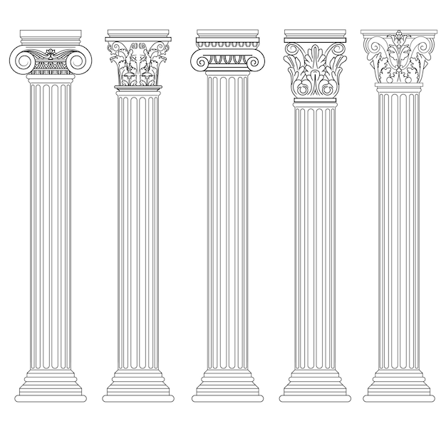 Romeinse kolom set, griekse pijler oude architectuur, griekenland antieke dorische, ionische, corinthische zuilen. Premium Vector