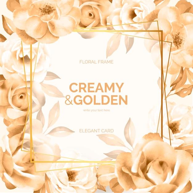 Romig en gouden bloemenframe Gratis Vector