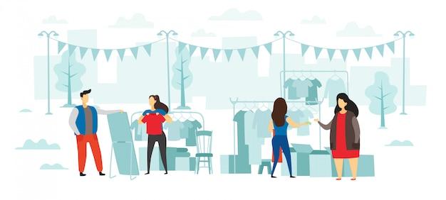 Rommelmarkt mode. mensen kopen en verkopen kleding, ruilfeest in de open lucht en kleden van platte illustratie Premium Vector
