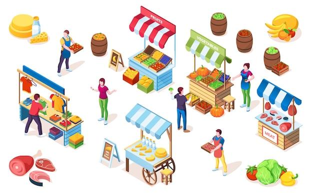 Rommelmarktbalies of bazaarkraam, marktvitrine met luifel Premium Vector